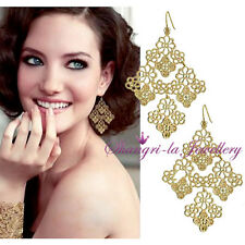 18k Gold GP Womens Chantilly Lace LEAF Chandeller DANGLE EARRINGS Fashion K515