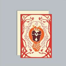 Luxury paper cut Valentines Red panda card. Happy valentine's day printed inside