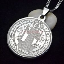 Stainless Steel Catholic Saint St.Benedict Medal Pendant Necklace SS Curb Chain