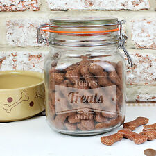 Personalised Pet Treat Glass Kilner Jar - Engraved Message Food Storage Cat Dog
