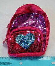 Build A Bear Backpack w/Sequins Satin Hot Pink/Purple/Blue