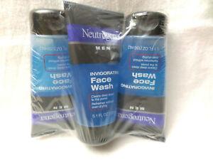 3 Pack Neutrogena Men's Invigorating Face Wash 5.1 Ounce Health & Beauty