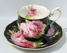 Rare Early ROYAL ALBERT AMERICAN BEAUTY Cup & Saucer BLACK COLORWAY Exc Cond