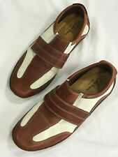 Cole Haan 11 Air Shoes Brown Leather Strap Ivory Driving Loafers Shoes Mens Shoe