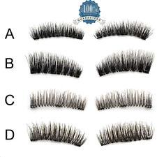 4x False Eyelashes Natural Handmade Eye Lash Extension Reusable Double Magnetic