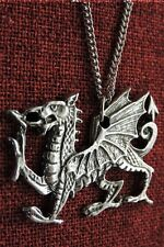Welsh Dragon Celtic Pendant Medieval Wales Stainless Steel Chain Pewter Necklace