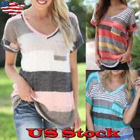 Women Short Sleeve T-shirt Loose Irregular Stripe V Neck Casual Tops Size S-5XL