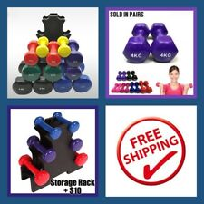 2-Piece 0.5kg VINYL DIPPED COLOURED HEX  DUMBBELLS -  1KG Weight Set