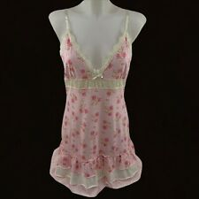 PJ Salvage Pajamas Large Babydoll Nighty Chemise Pink Floral Ruffles