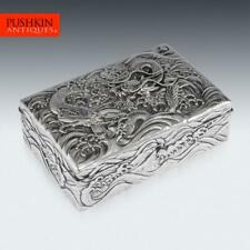 More details for antique 20thc japanese meiji solid silver dragon cigar box c.1900