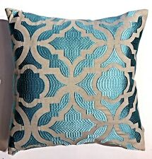 "Geo DecorativePillow Holidaydecor  Pillowcase SheenTurqEmbroidery 16""X 16"" $35"