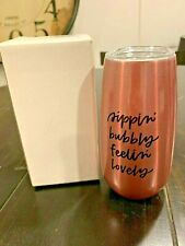 Stemless Wine Tumbler Travel Mug Glass Insulated Sippin' Bubbly Feelin' Lovely