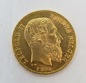 1875 Belgium Gold 20 Francs Coin .1867AGW Leopold 2nd BU+ L9966