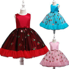 Sequins Kids Dress Flower Girls Wedding Bridesmaid Party Prom Gown Christmas New