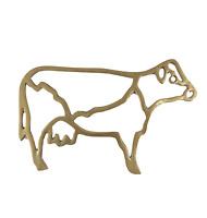 Vintage 70s Mid Century Modern MCM Solid Brass Cow Farmhouse Trivet Pot Holder