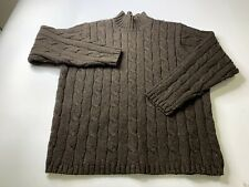 LL Bean Men's Cable Knit Sweater Mock Neck Brown Size Large Wool Blend