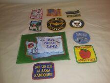 Mixed Lot Of 11 Vintage Cloth Patches Sams Club Us Navy Aviation Alaska & More