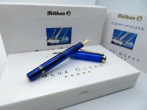 Pelikan M800 Blue Ocean Füller Limited Edition Fountain Pen 1993 unbenutzt Ovp
