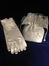 Beautiful White 2pc Bag And Glove Set For First Holy Communion / Flower girl
