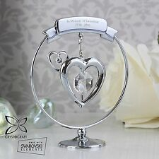 Personalised Crystocraft Heart Ornament Memorial In Memory of Gift Swarovski New