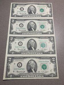 1976 2 Dollar Bill Uncut Uncirculated Sheet of 4