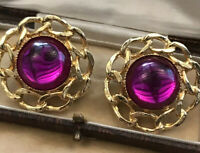 Vintage 1980s Pink Cabochon Earrings