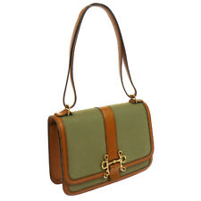 Authentic HERMES Sologne Shoulder Bag Brown Green Vintage GHW BT14247