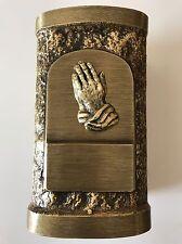 """BRASS PRAYING HANDS CREMATION URN - 8.5""""x5""""x5"""""""