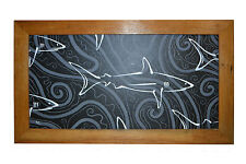 Original Painting. Black & White Shark. Mounted in a Recycled Timber Frame