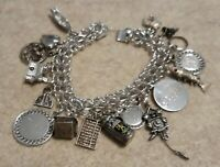Vintage 925 sterling silver Charms bracelet 55.7 Grams 17 Charms   5/20