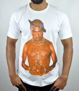 2Pac Thug Life Organic Cotton Crew Neck T-Shirt in White Size - L