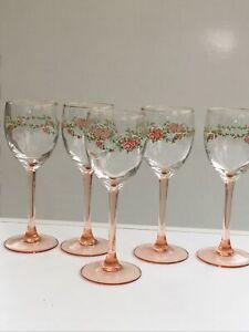 Luminarc France Pink Stemmed Rose Pattern Wine Glass Set Of 5