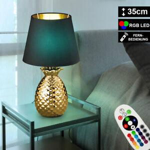RGB LED Textil Tisch Lampe Fernbedienung Ananas Design Keramik Leuchte dimmbar