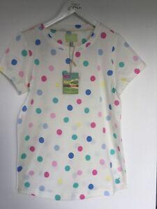 Girls Pale Lemon Polka Dot Spot T-Shirt / Top - 11-12 Years - Joules - BNWT