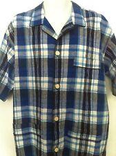 Polo Ralph Lauren Sleepwear Shirt Plaid Blues BlackTrim Linen/Cotton SS Sz L NWT