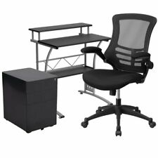 Flash Furniture 3 Piece Work from Home Office Desk Set in Black