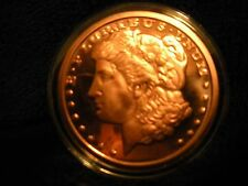 1 OZ COPPER ROUND COIN MORGAN .999 FINE COPPER IN HARD CLEAR PROTECTIVE CASE