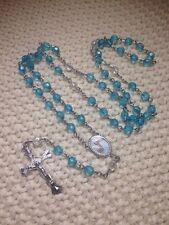 12-Baptism Favors Rosaries Cross Turquoise Party Recuerdos de Bautizo Rosario
