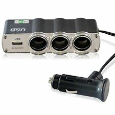 3 Way 12v Car Cigarette Lighter Socket Extension Splitter 1 USB Plug Charger UK