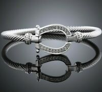 Horseshoe Clasp Twisted Cable 18K White Gold Filled ITALY MADE with Crystals
