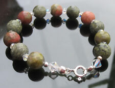 Green Jasper beads 8mm Bracelet 925 Sterling Silver Ends Clasp Swarovski Element