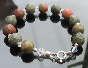 Green Jasper beads 8mm Bracelet 925 Sterling Silver Ends Clasp Swarovski Element