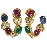 Vintage Emerald Ruby Sapphire and Diamond 18K Yellow Gold Large Hoop Earrings