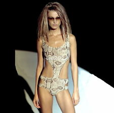 Rare Gucci by Tom Ford  2000 Cut Out One Piece Print Maillot Bodysuit Ad Runway