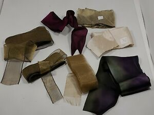 "VTG Ribbon Remnants Sheer/Satin/Misc.Textures & Widths ""Sophisticated"" Lot of 7"