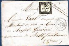 15 c RAXE N° 3 obl PLOMBIERES Vosges lettre pour Bellefontaine 1866 , TTB