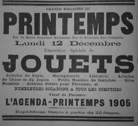 PUBLICITÉ DE PRESSE 1904 GRANDS MAGASINS DU PRINTEMPS JOUETS - ADVERTISING