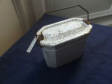 VINTAGE FRENCH GAMELLE TIFFIN ENAMEL LUNCH TIN with Original Name Tag
