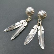 Native American Navajo Sterling Silver Small Concho Double Feather Earrings