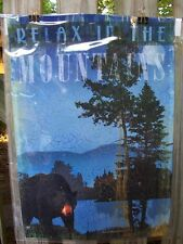 """Relax In The Mountains"" bear woods decorative Garden Flag 12.5x18"